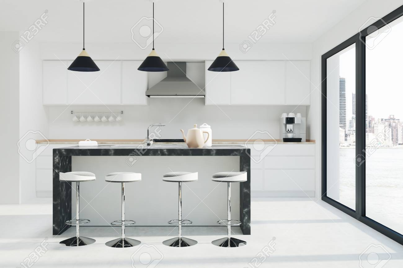 Stock Photo   White Kitchen Interior With A Dark Marble Bar Stand, A Row Of  Stools And Countertops. Loft. 3d Rendering Mock Up