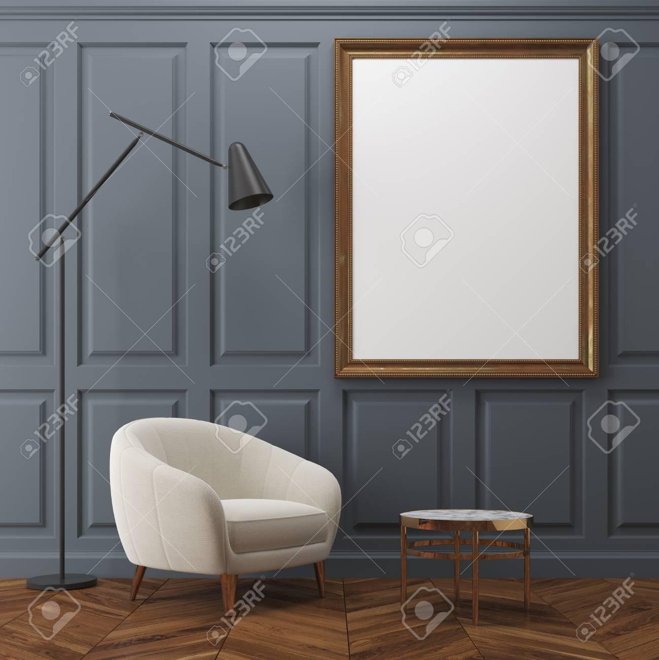 Wohnzimmer Innenraum Mit Dunkelgrauen Wänden, Einem Weißen Sessel ...