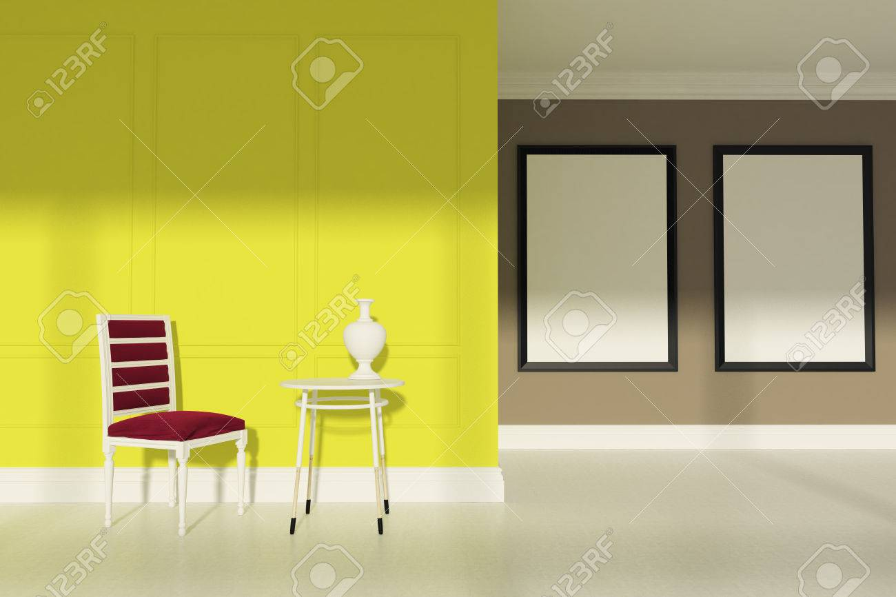 Dining Room With Beige And Yellow Walls, A White Floor, A Red ...