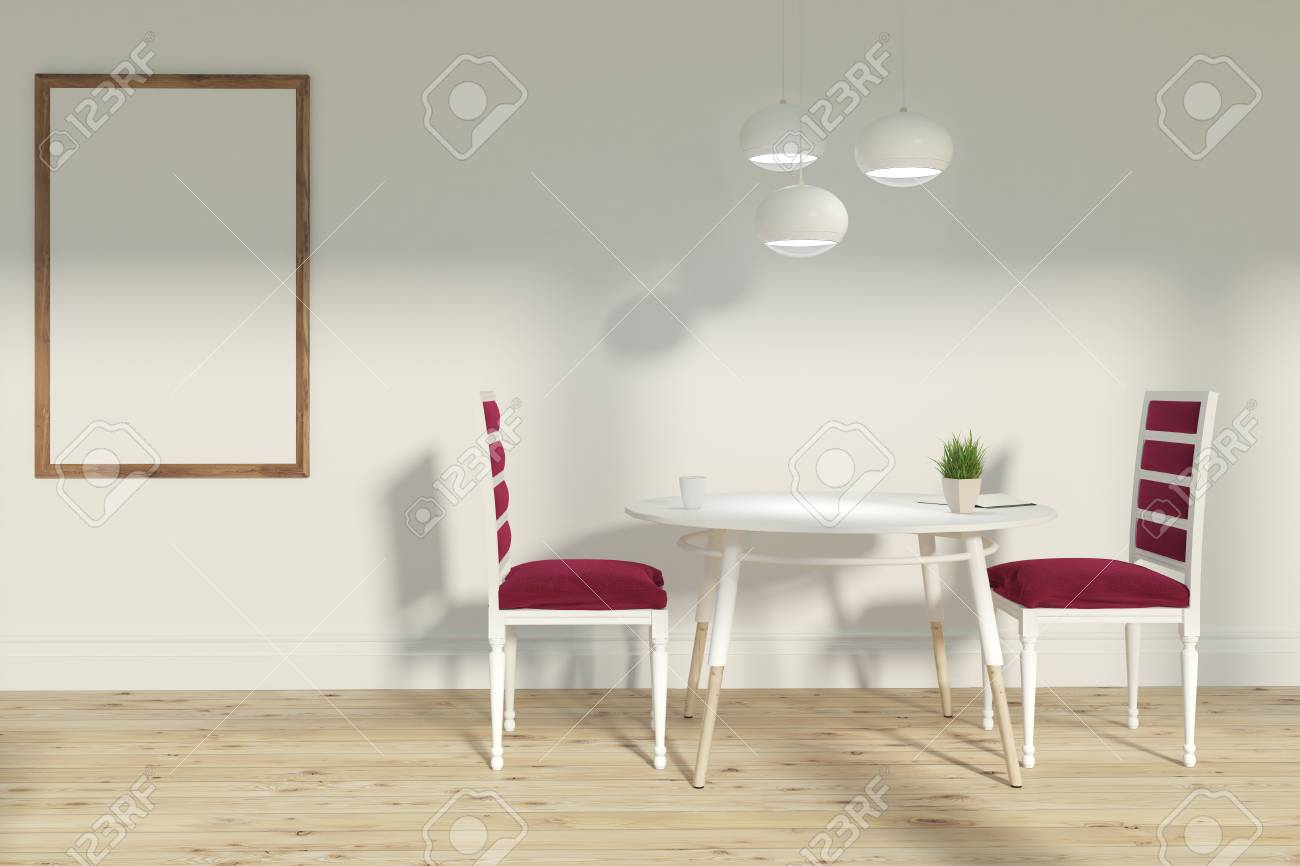 Interieur De La Salle A Manger Avec Deux Chaises Rouges Debout Pres