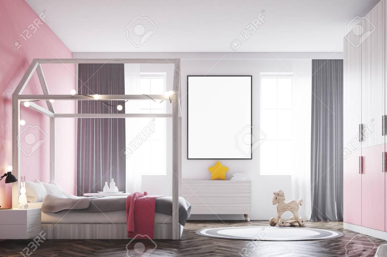 Intérieur De Chambre à Coucher Fille Avec Un Mur Blanc Un Mur Rose