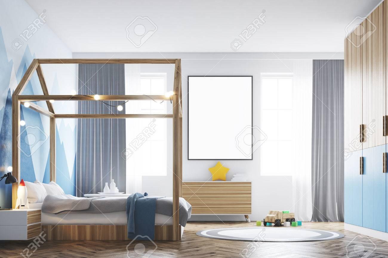 Interieur De Chambre A Coucher Avec Un Mur Blanc Un Papier Peint De