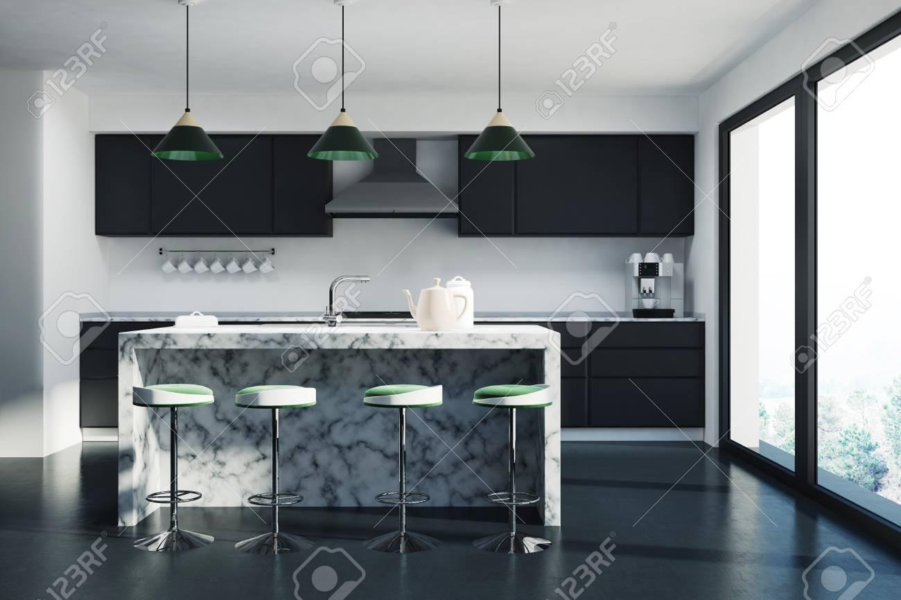 Interieur De Cuisine Noir Avec Une Barre De Marbre Blanc Une