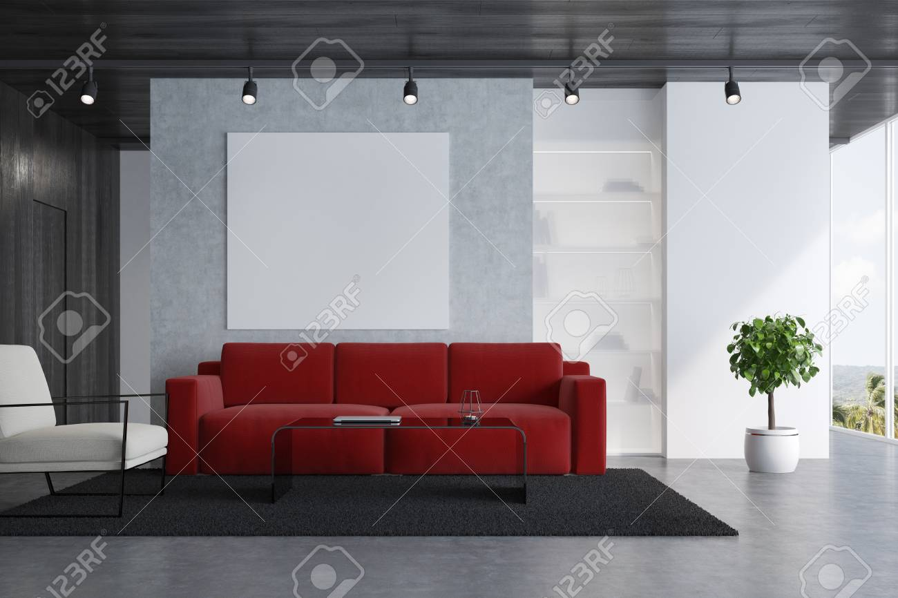Concrete Living Room Interior With A Red Sofa, A White Armchair ...