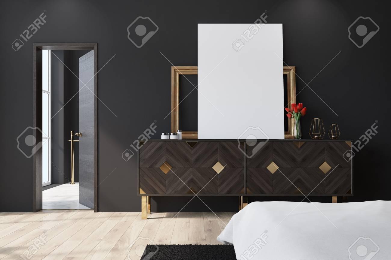 Fußboden Teppich ~ Schwarzes schlafzimmerinnenraum mit einem hölzernen fußboden einem
