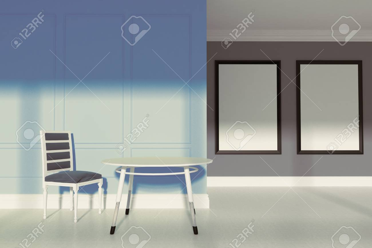 Salle à manger avec des murs gris et bleus, un sol en béton, une chaise  grise et une petite table ronde. Deux affiches verticales encadrées.  Maquette ...