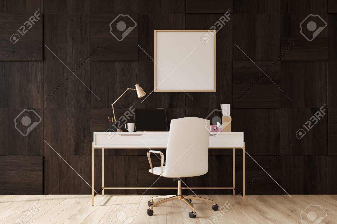 Dark Wooden Wall Home Office With A Wooden Floor A Square Poster Stock Photo Picture And Royalty Free Image Image 83989463