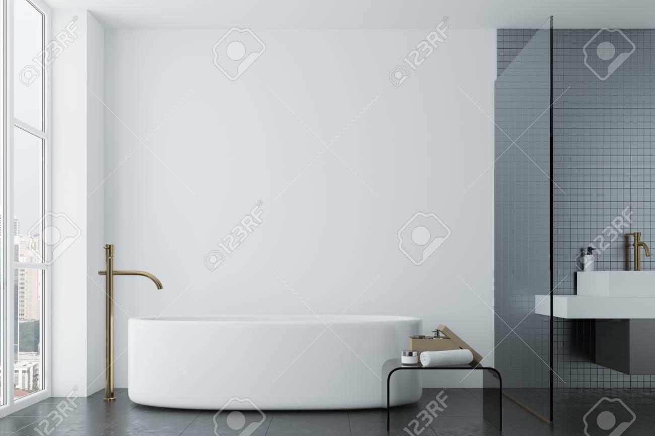 Salle De Bain Foncee ~ salle de bain loft blanc avec des carreaux gris fonc un lavabo