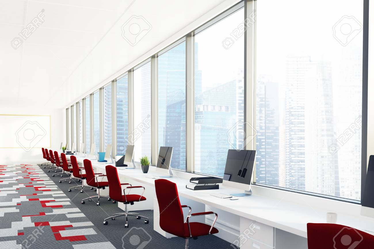 Open Office Room With White Computer Desks, Red Chairs And A.. Stock ...