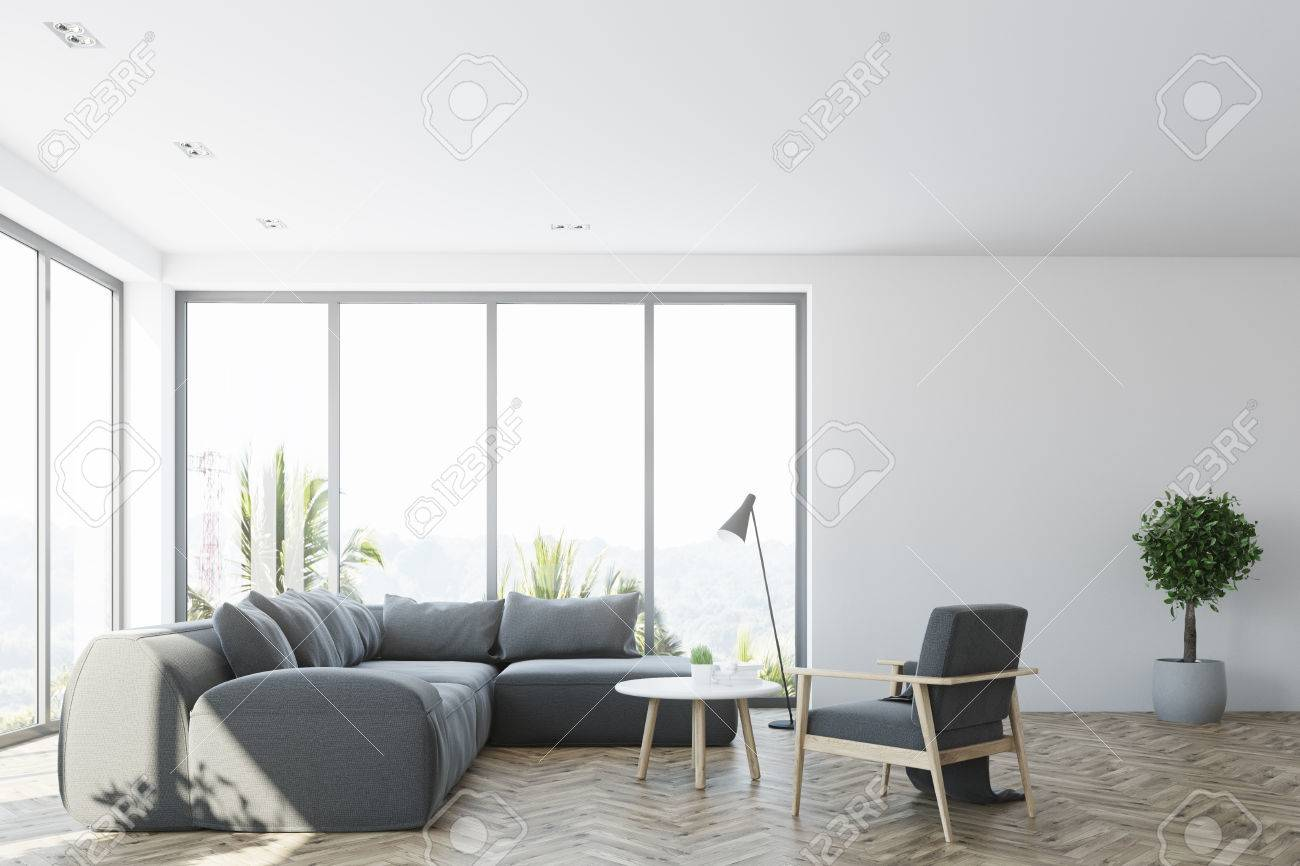 White Living Room Interior With A Gray Sofa, An Armchair And.. Stock ...