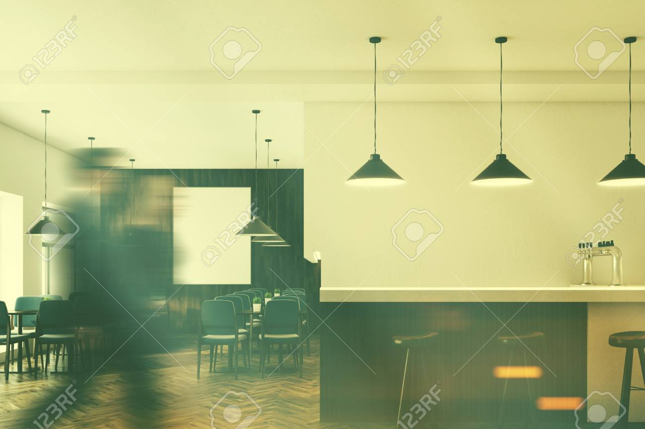 Cafe Interior With White And Wooden Walls, Gray Chairs, Dark.. Stock ...