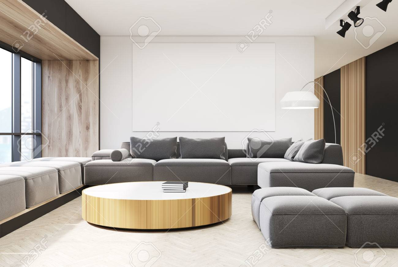 White And Wooden Living Room With A Wooden Floor, A Round Narrow ...