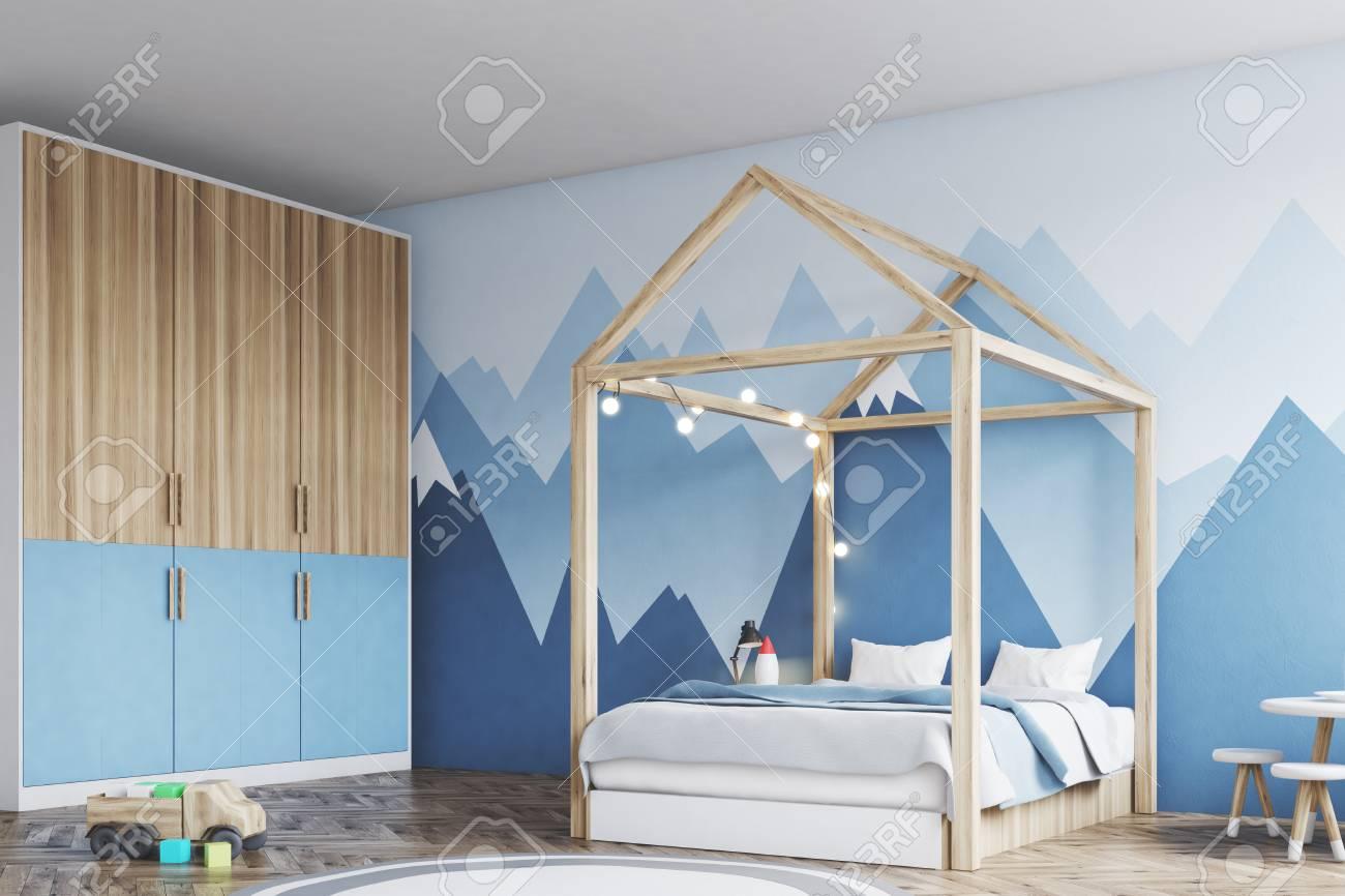 Intérieur De La Chambre Des Garçons Avec Un Mur Blanc Un Papier