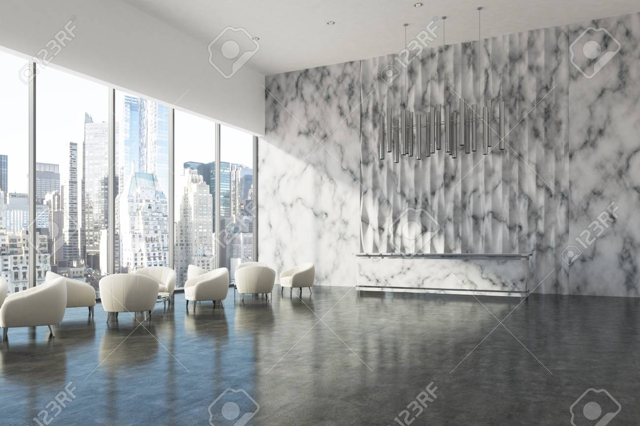 wall office desk. Side View Of A Marble Reception Desk Standing In Wall Office Lobby With E