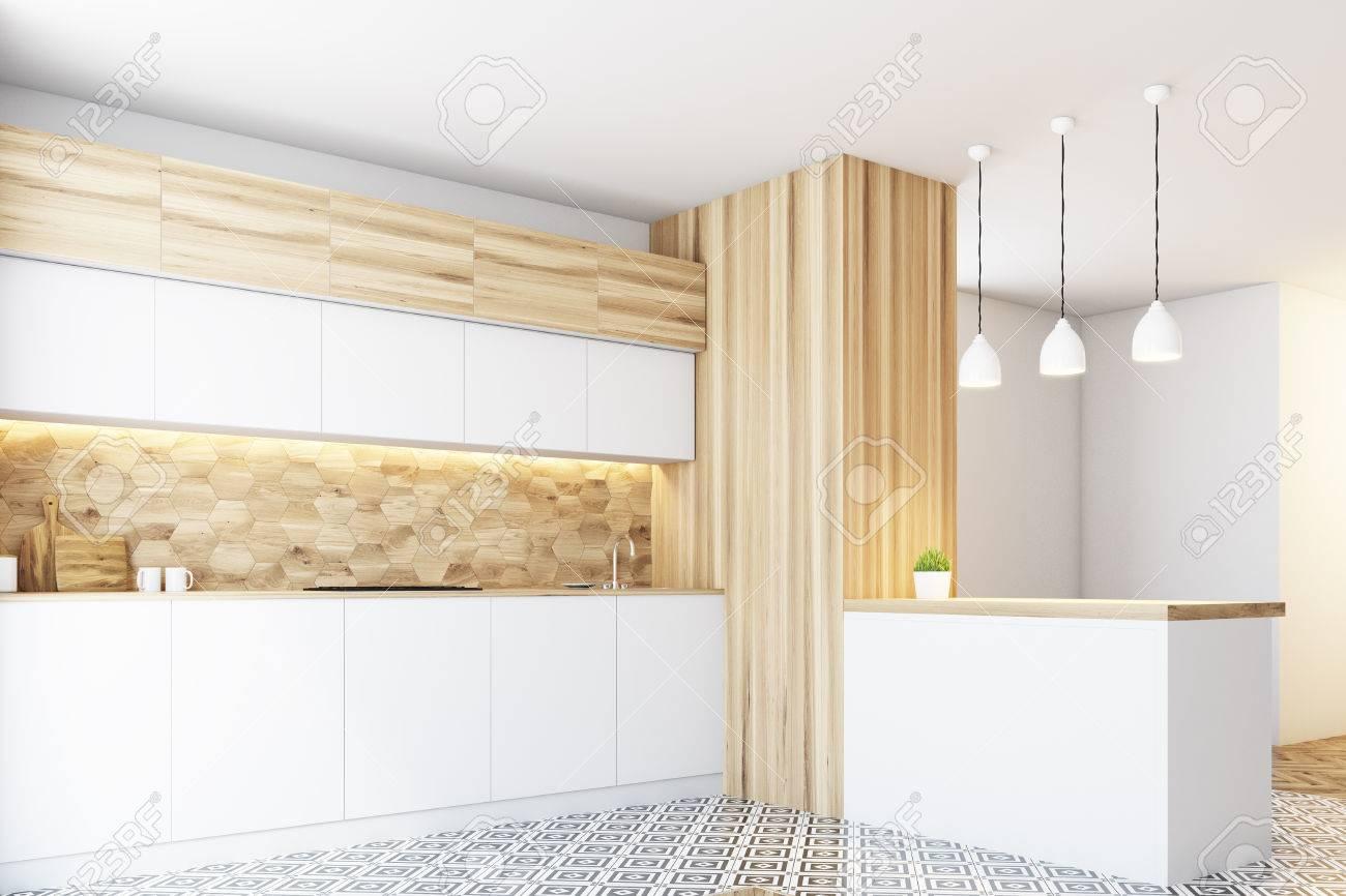 Hexagon-Muster Küchenwand Mit Weißen Arbeitsplatten, Einer Weißen ...