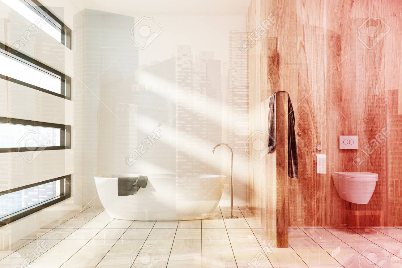 Weisses Badezimmer Interieur Mit Einem Weissen Wanne Ein Handtuch