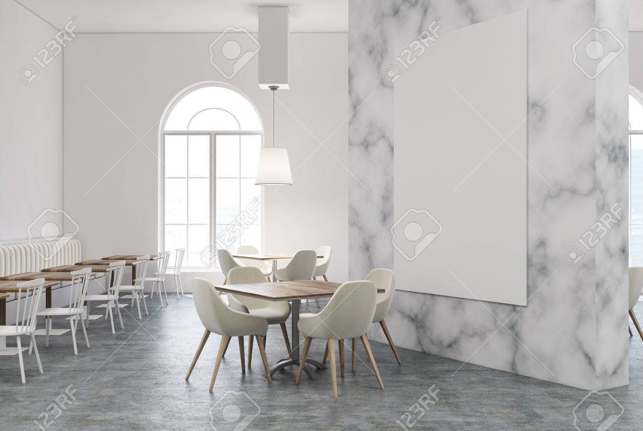 White Marble Restaurant Interior With A White And Wooden Floor Stock Photo Picture And Royalty Free Image Image 84613165