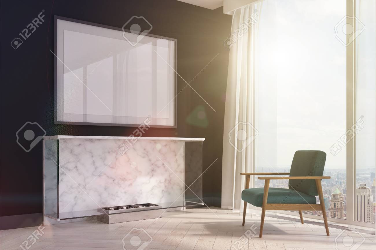 Side View Of A Black Living Room Interior With A Marble Fireplace Stock Photo Picture And Royalty Free Image Image 85253449