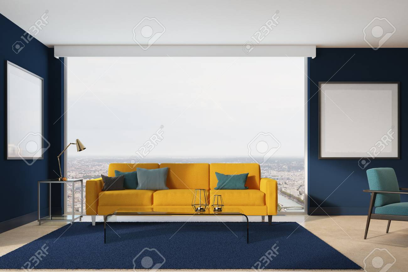 Blue Living Room Interior With A Yellow Sofa, Gray, Blue And.. Stock ...