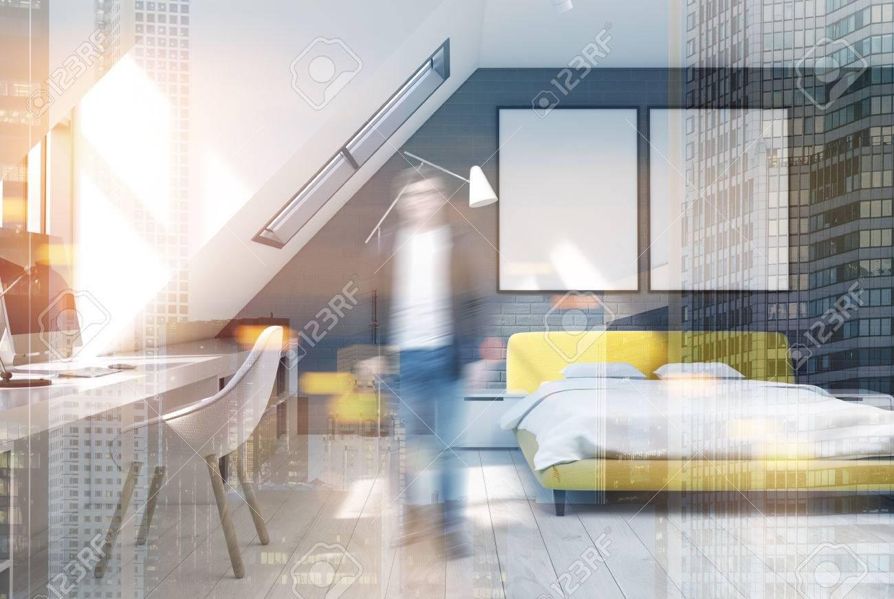 Muri Interni Grigi : Immagini stock interni della camera da letto con i muri di
