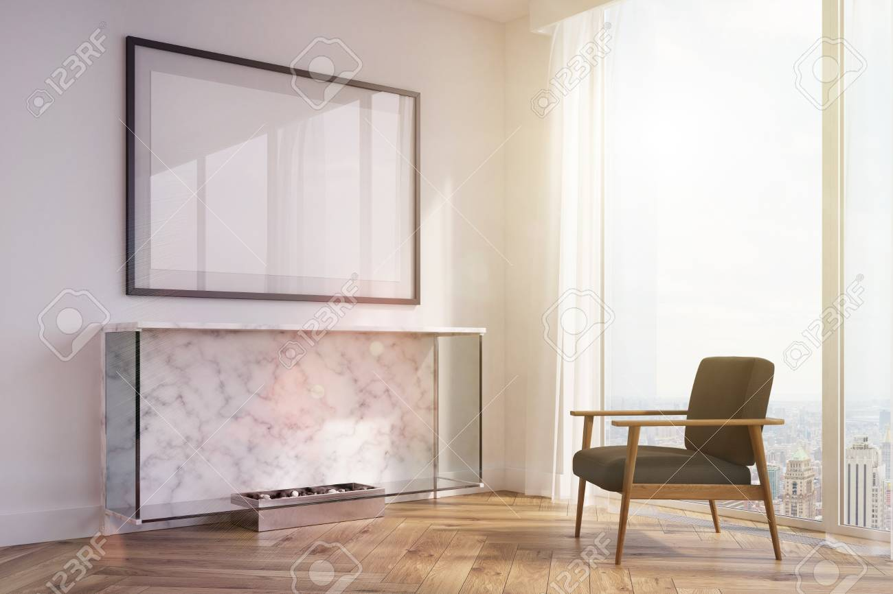 Side View Of A White Living Room Interior With A Marble Fireplace ...