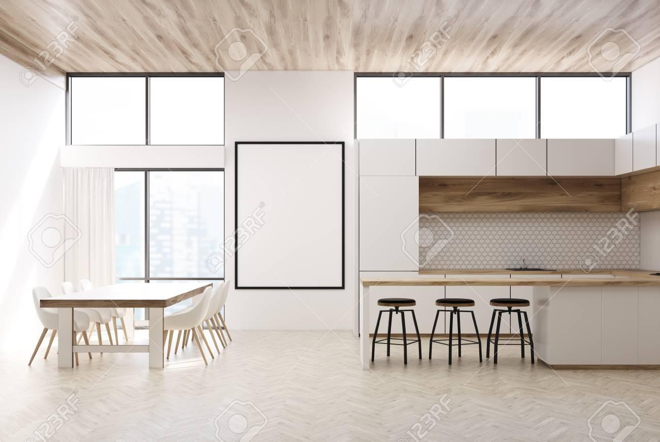 3d Fußboden Küche ~ Weiße und hölzerne küche mit großen fenstern einem hölzernen