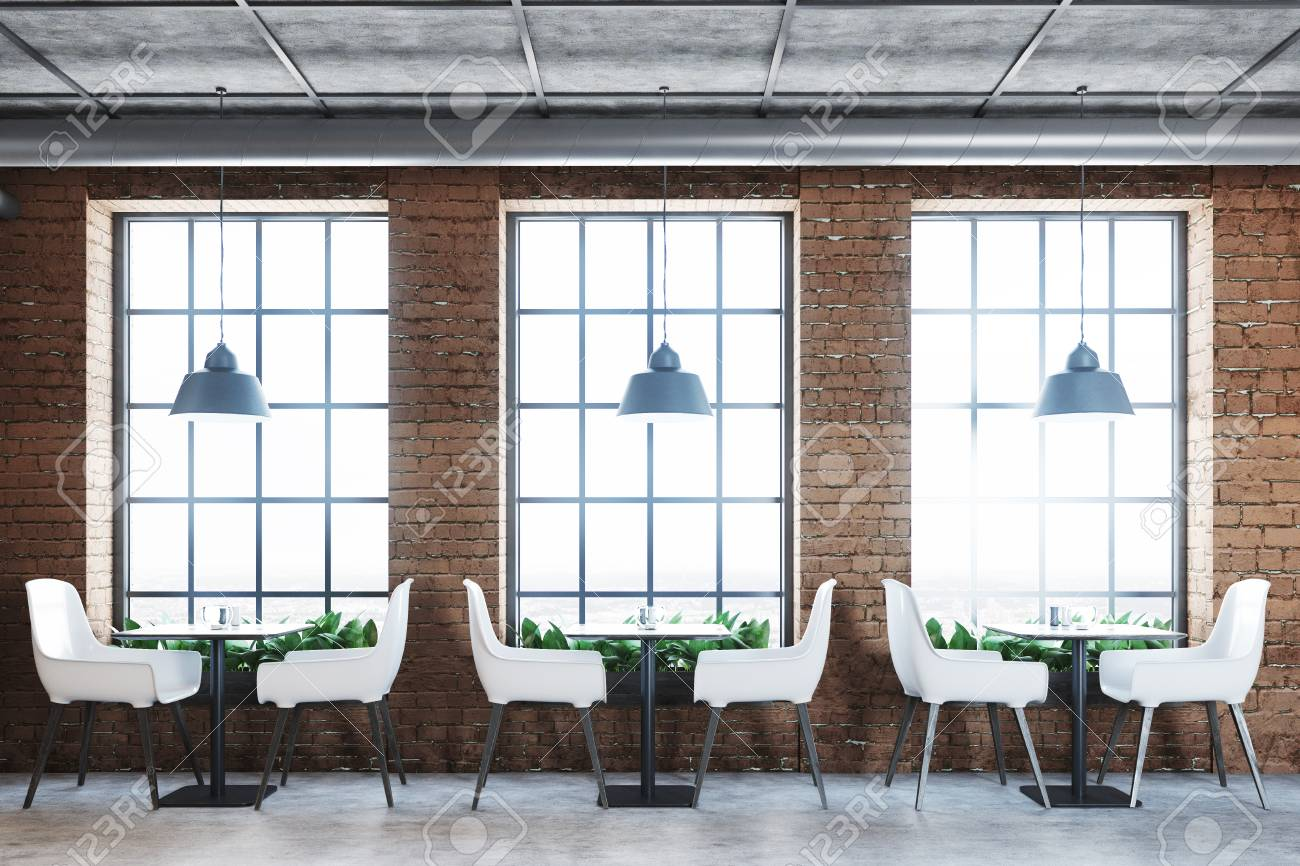 brick cafe interior with a concrete floor white chairs and small square tables tall - Concrete Cafe Interior