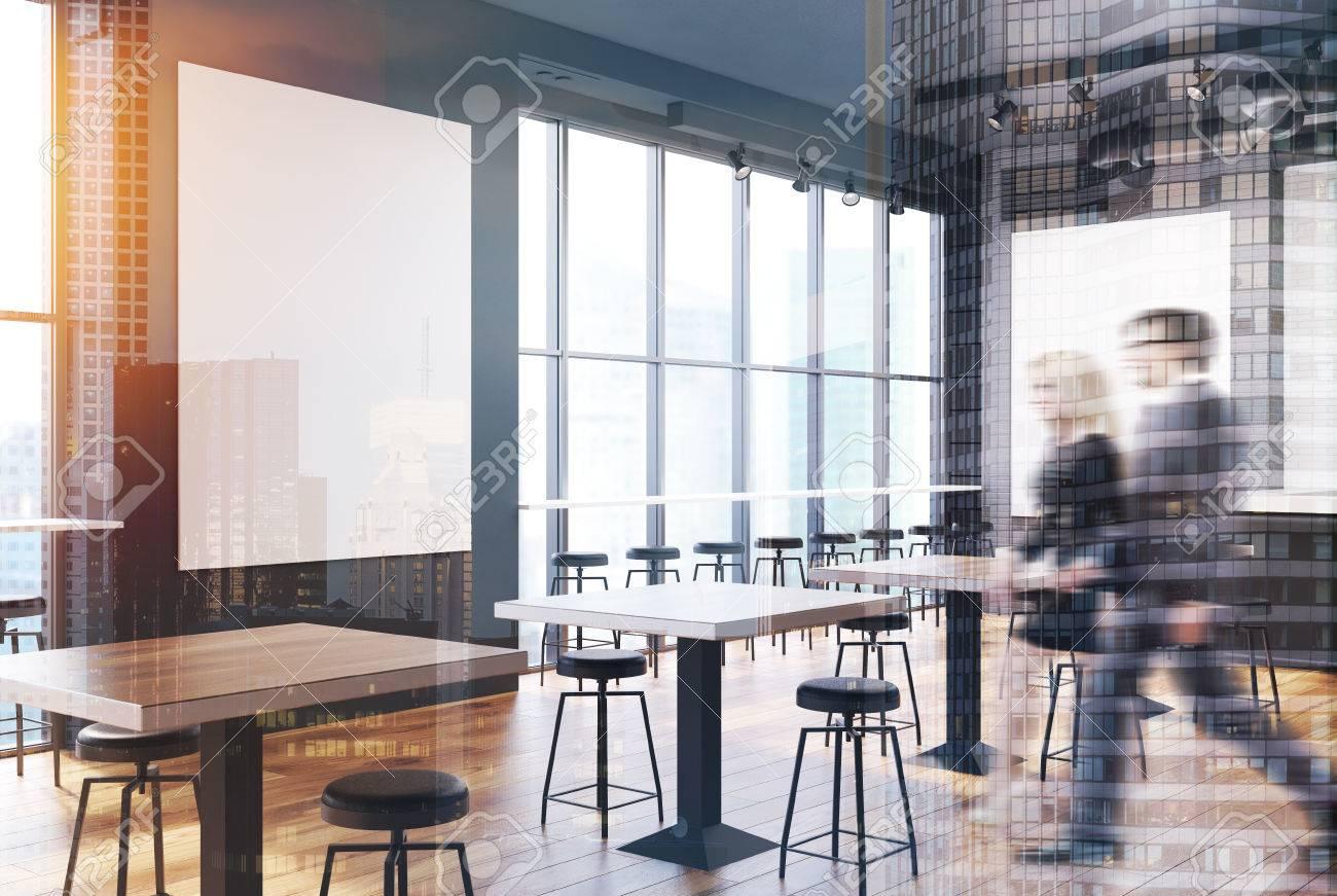 Weisser Ziegelstein Und Grauer Wand Loft Bar Innenraum Mit Einem