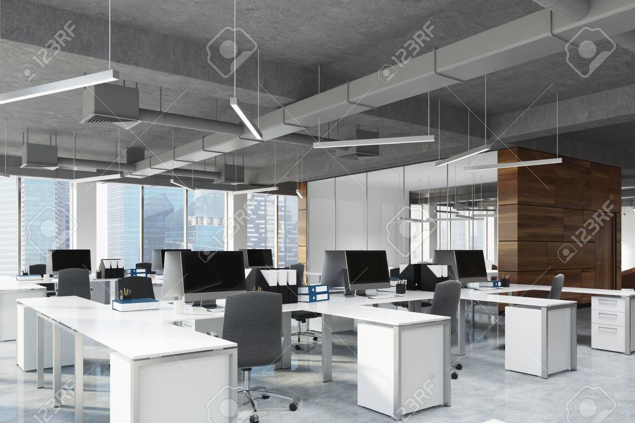 Vue De Cote D Un Espace De Bureau A Aire Ouverte Avec Des Murs En