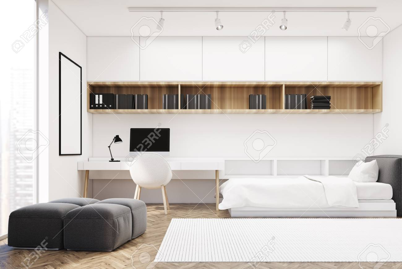 White bedroom interior with a wooden floor, a single bed and..