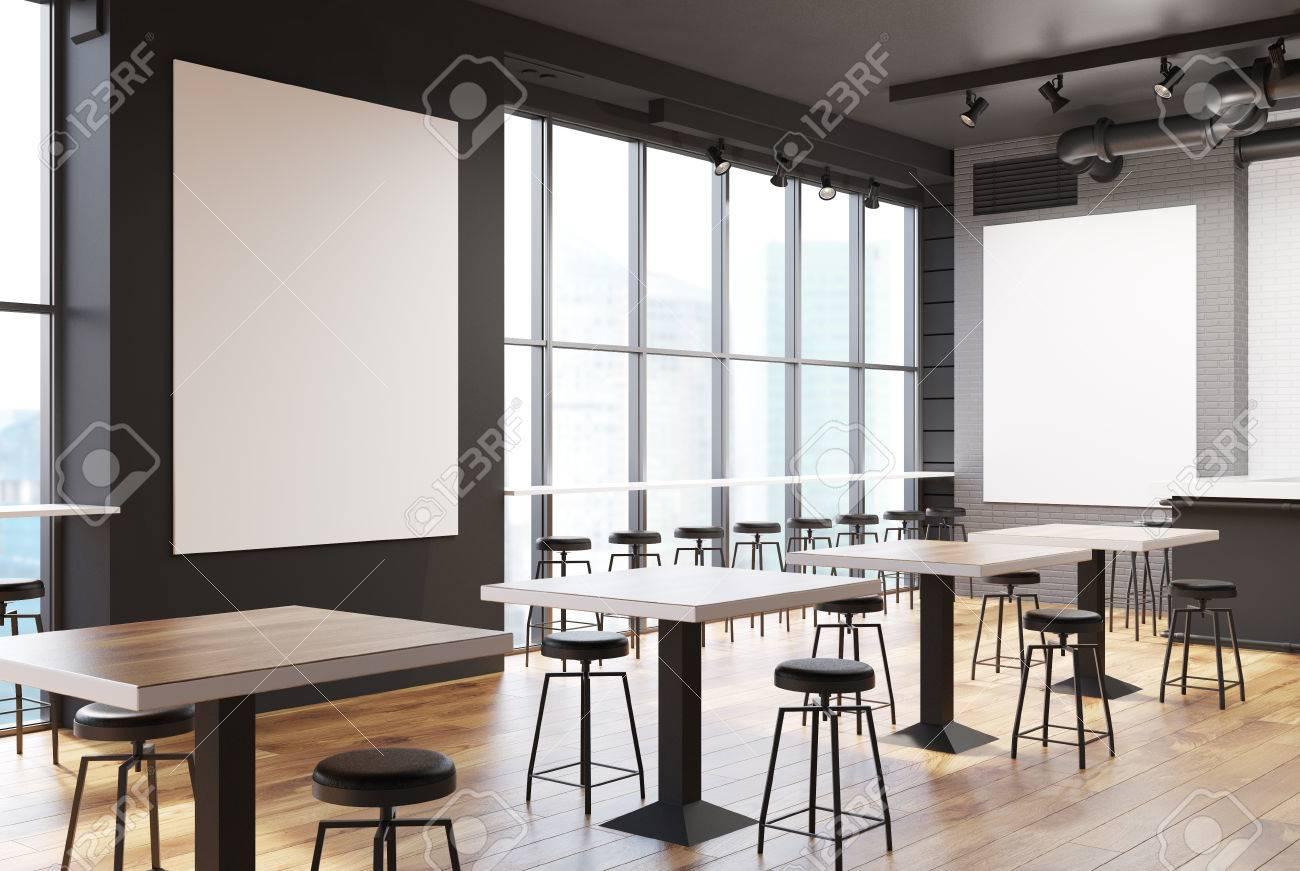 Weiße Backstein Und Graue Wand Loft Bar Interieur Mit Einem ...