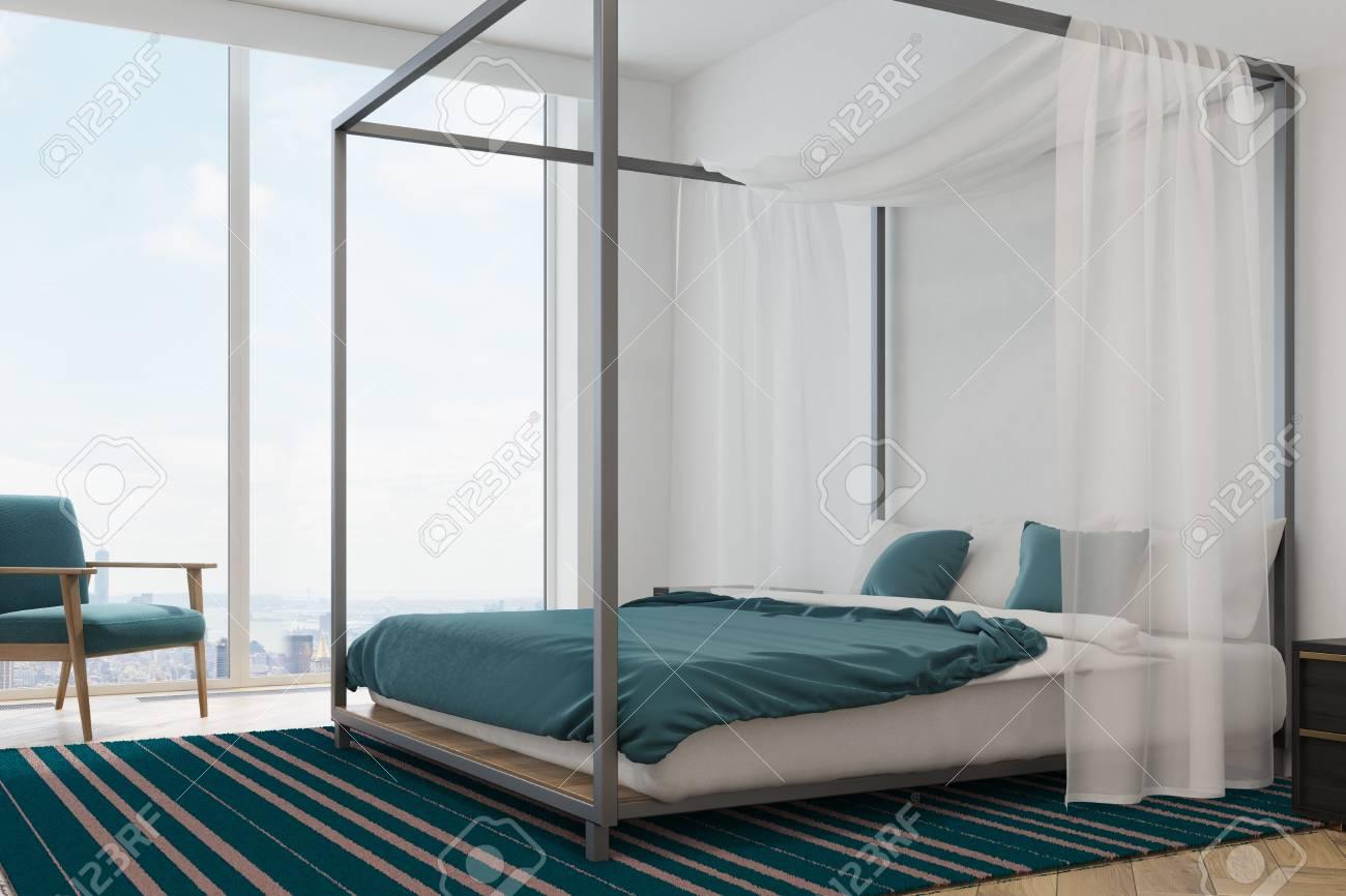 Moderner Fußboden ~ Moderner schlafzimmerinnenraum mit einem dachbodenfenster einem