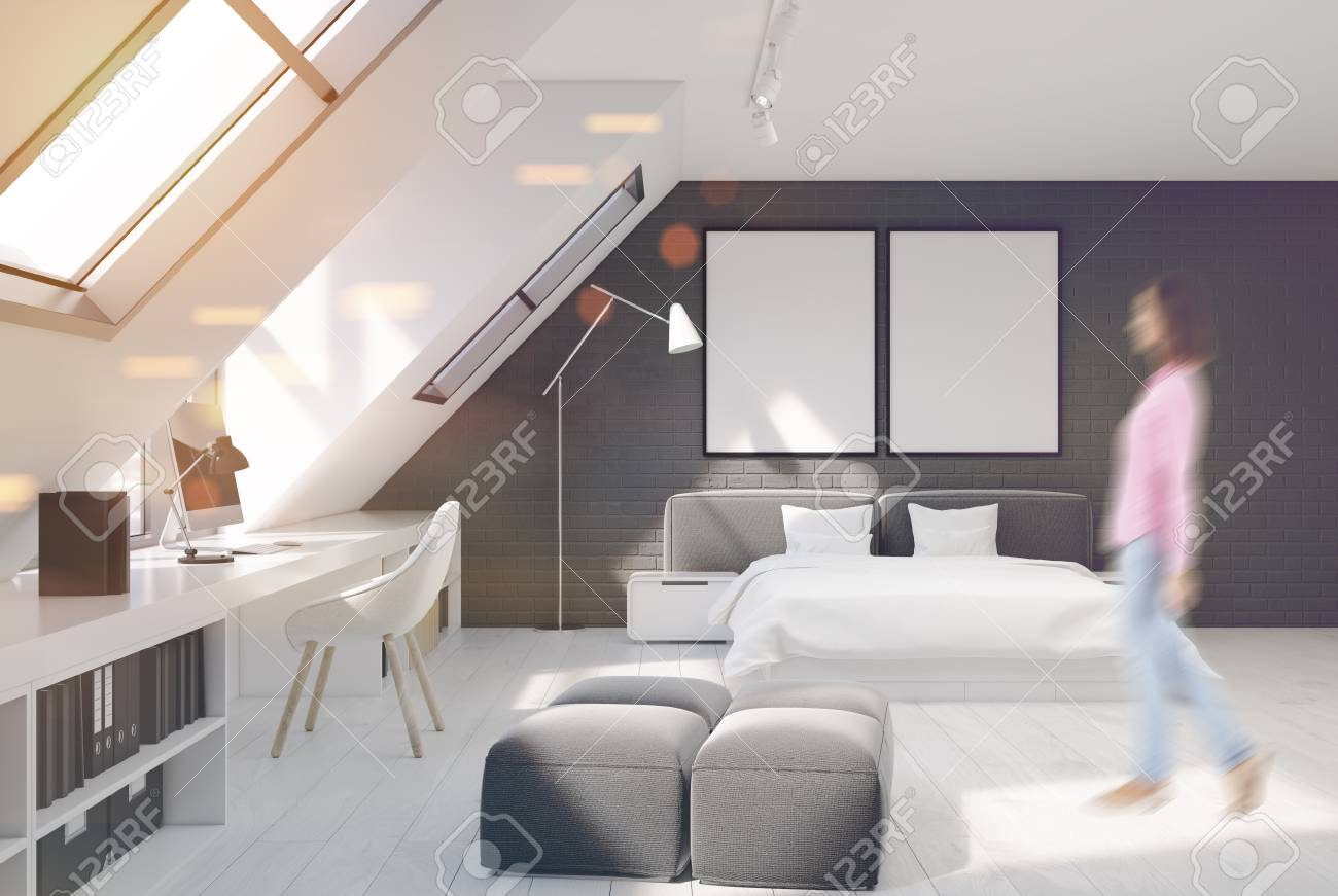 Bedroom With White And Gray Brick Walls. There Is A Double White ...