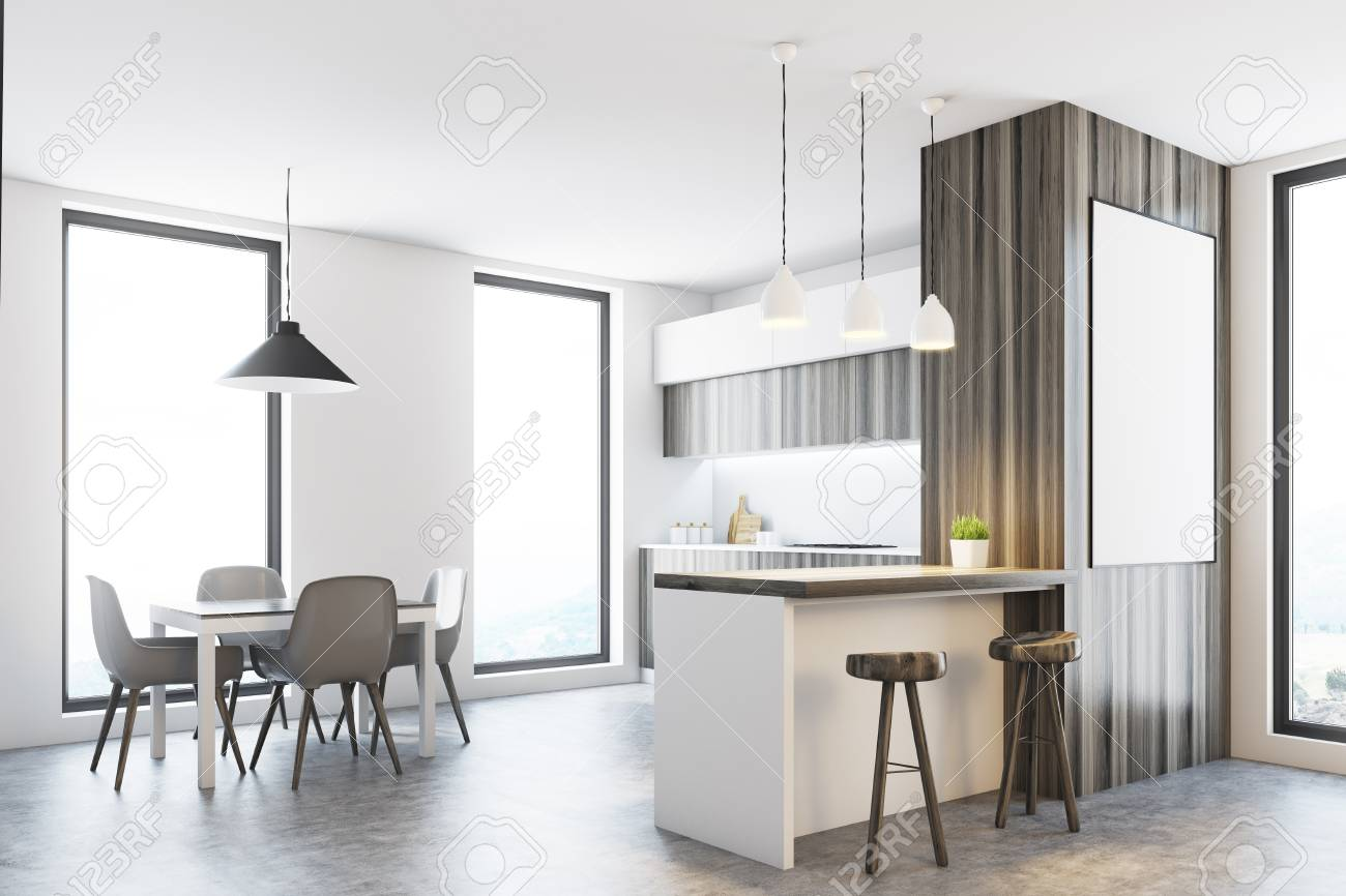Side View Of A White Kitchen With Tall Windows, A Concrete Floor ...