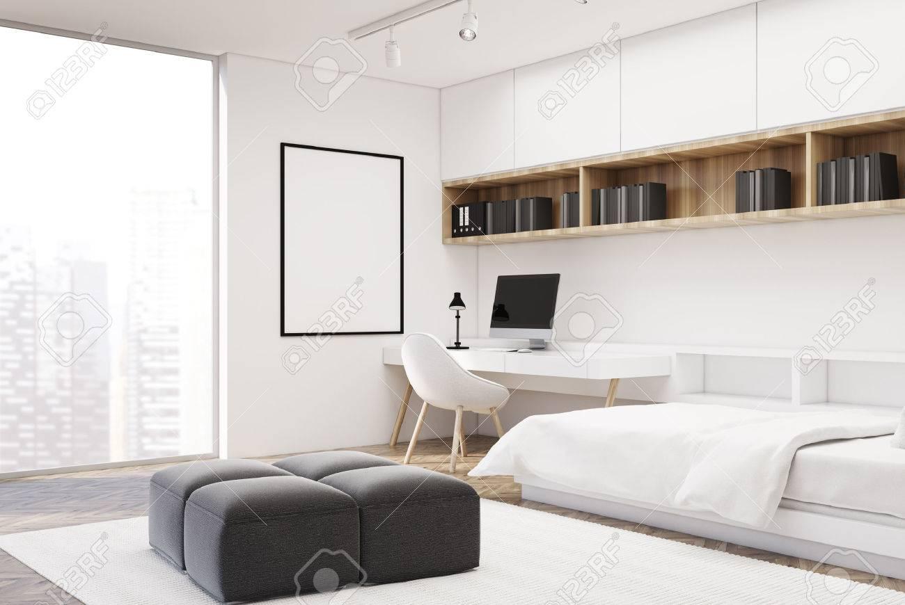3d Fußboden Schlafzimmer ~ Weißes schlafzimmerinnenraum mit einem konkreten fußboden einem