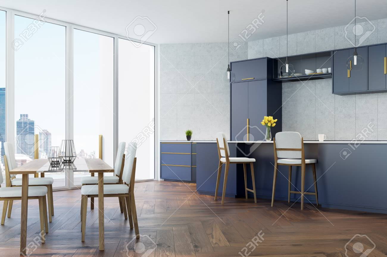 Gray Tiled Kitchen With Panoramic Windows A Wooden Floor A Stock Photo Picture And Royalty Free Image Image 85553083