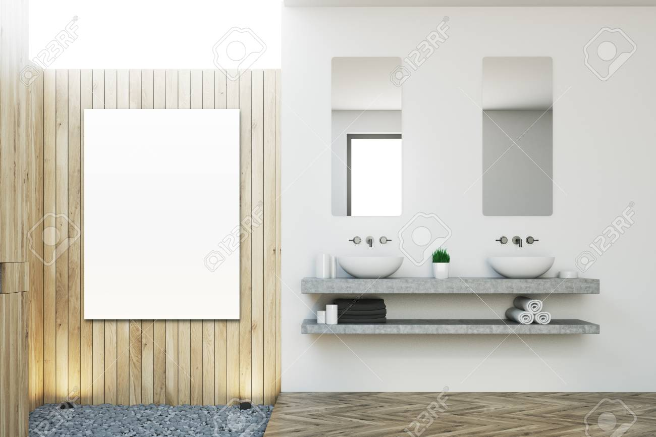 Close Up Of A Double Sink With Two Vertical Mirrors Hanging On ...