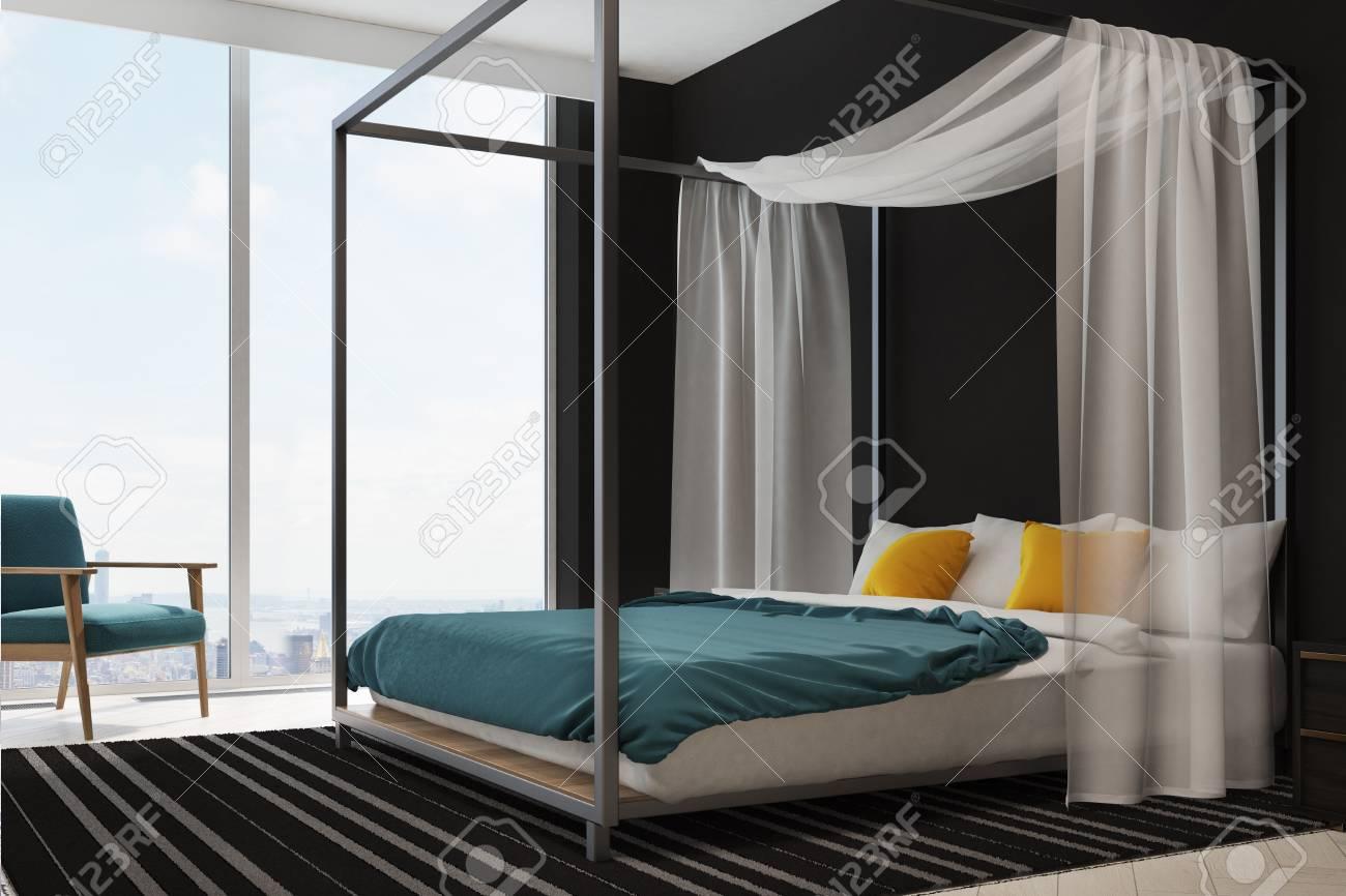 Modern slaapkamerbinnenland met een zoldervenster een houten