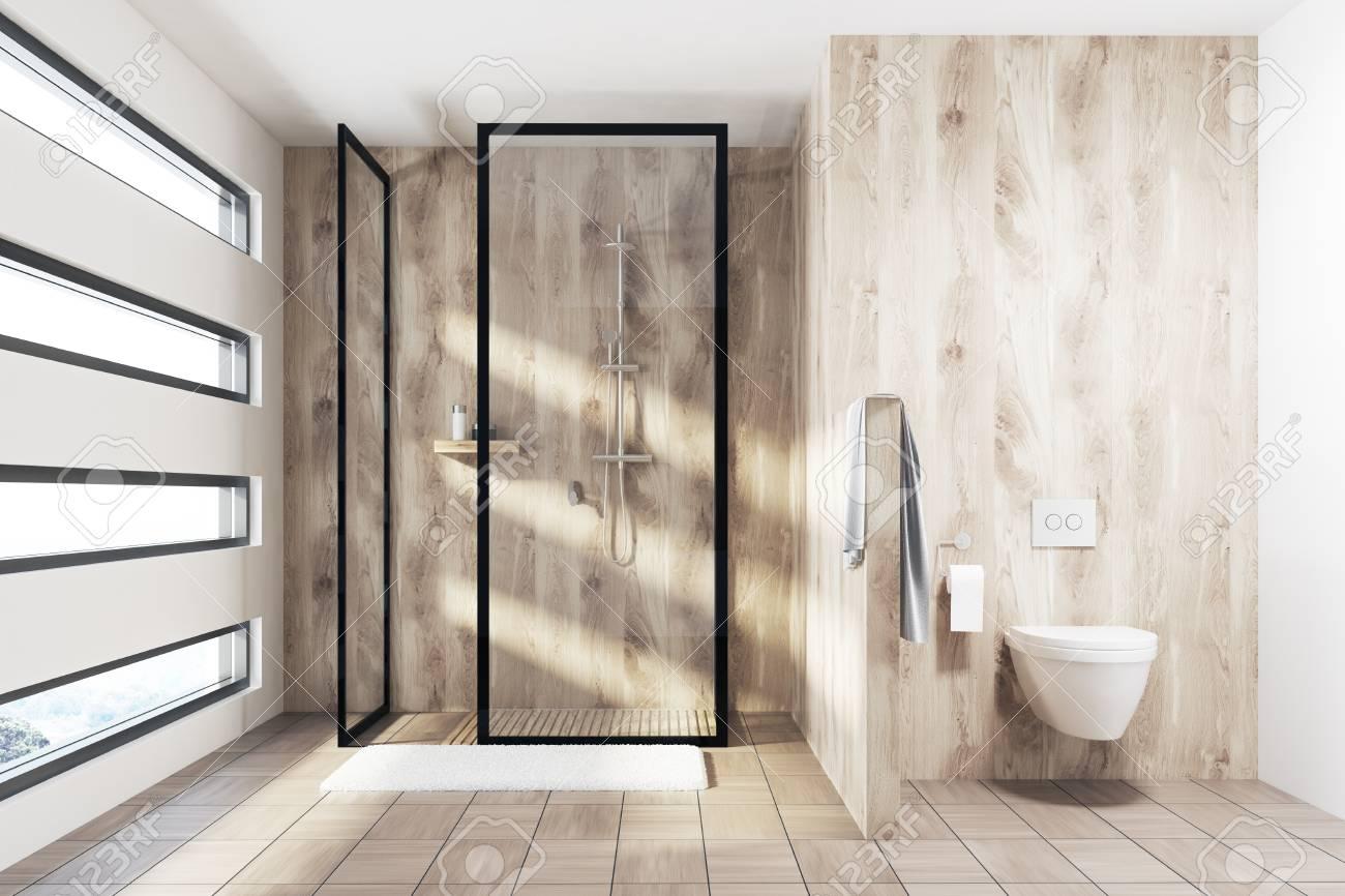 Fußboden Ziegel ~ Hölzerner duschinnenraum mit einem mit ziegeln gedeckten hölzernen