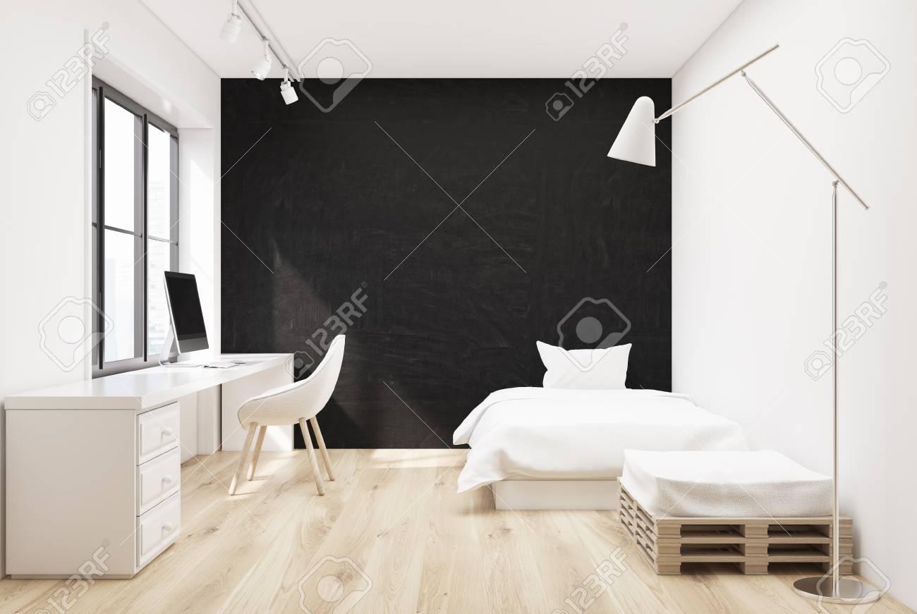 Banque Du0027images   Intérieur Gris Chambre à Coucher Avec Un Lit Blanc, Un  Fauteuil Et Une Table Du0027ordinateur Avec Un Bureau Debout Sur Elle. Maquette  3D