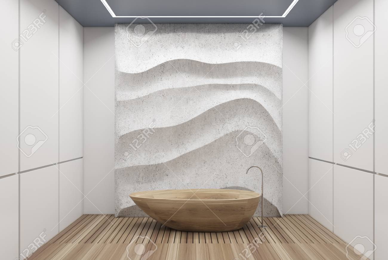 White Panel Bathroom Interior With A Wooden Floor, A Wooden Tub ...