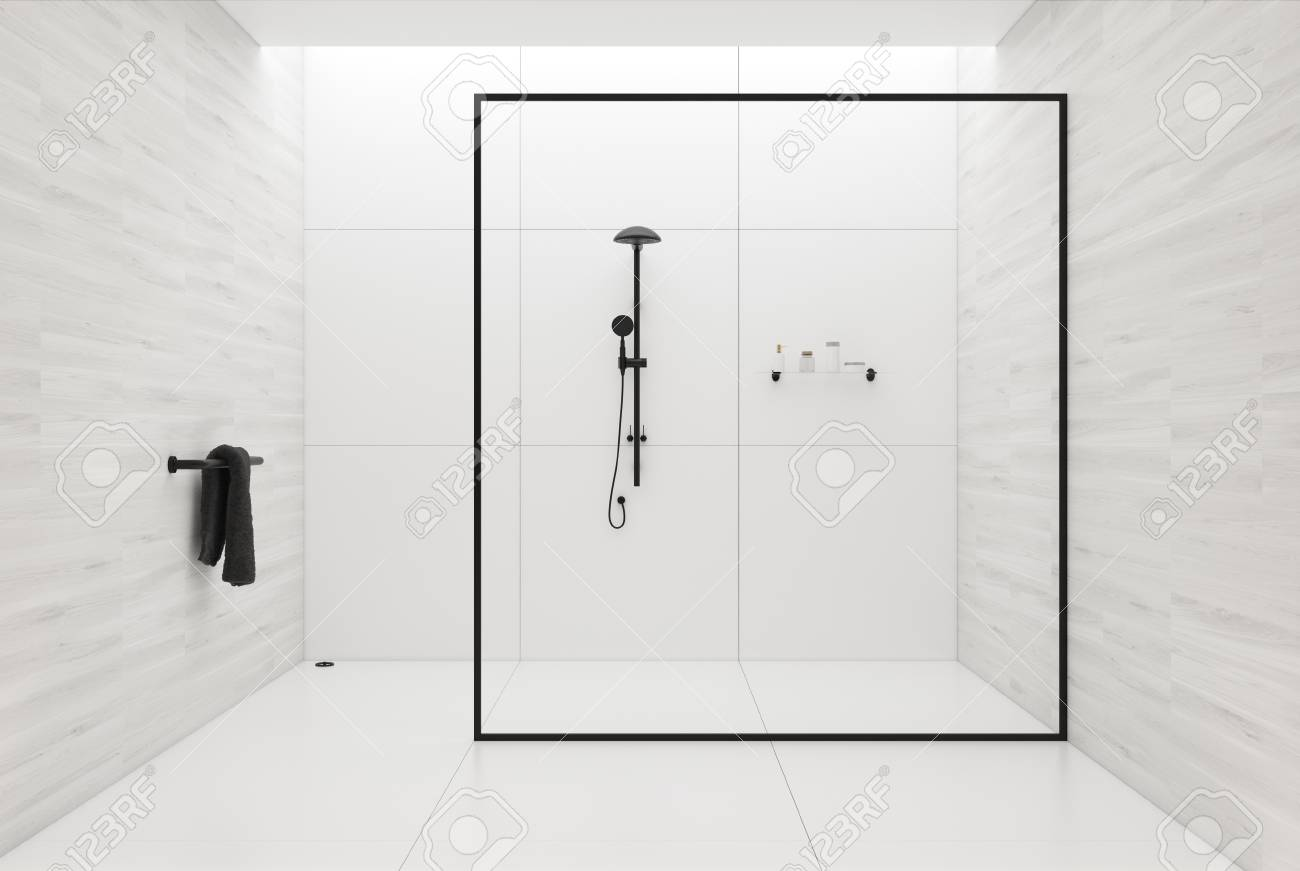 White Tiles Bathroom Interior With A Tiled White Floor, A Black ...