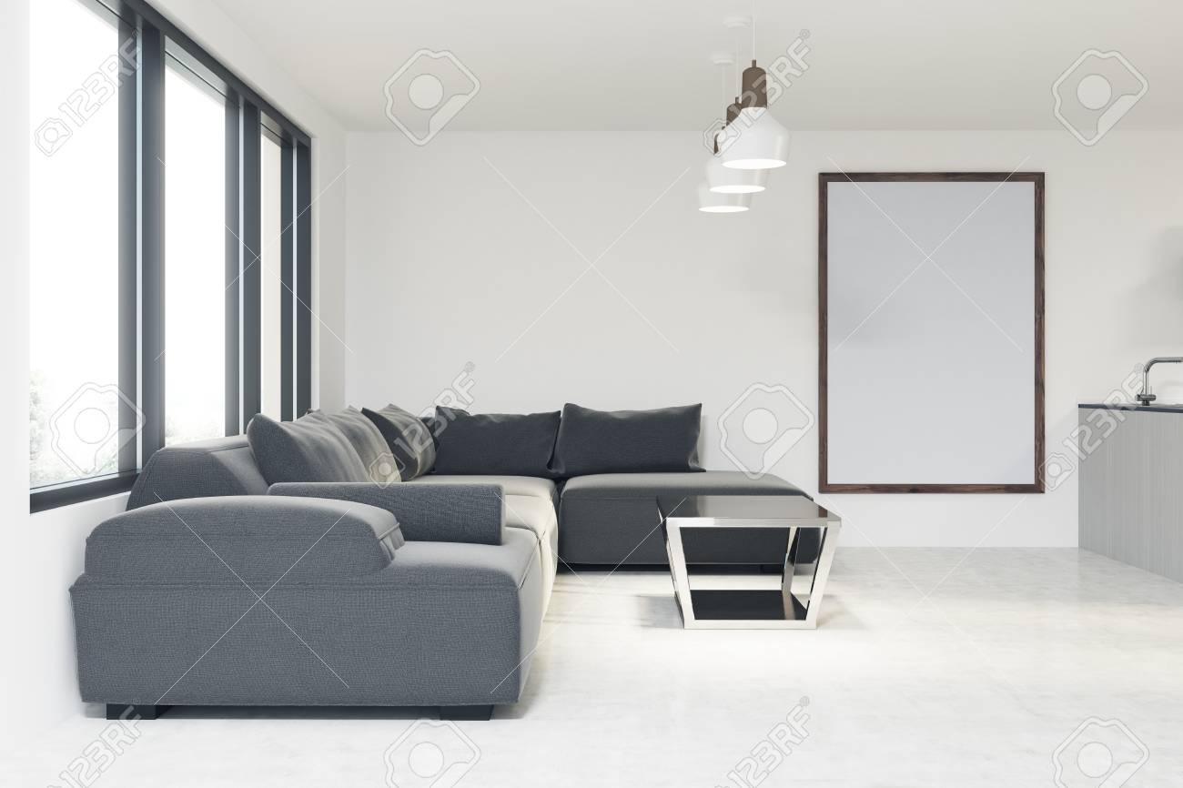 banque dimages intrieur de salon blanc avec une fentre panoramique un long canap gris un bar une table basse et une affiche verticale encadre - Canape Gris Blanc