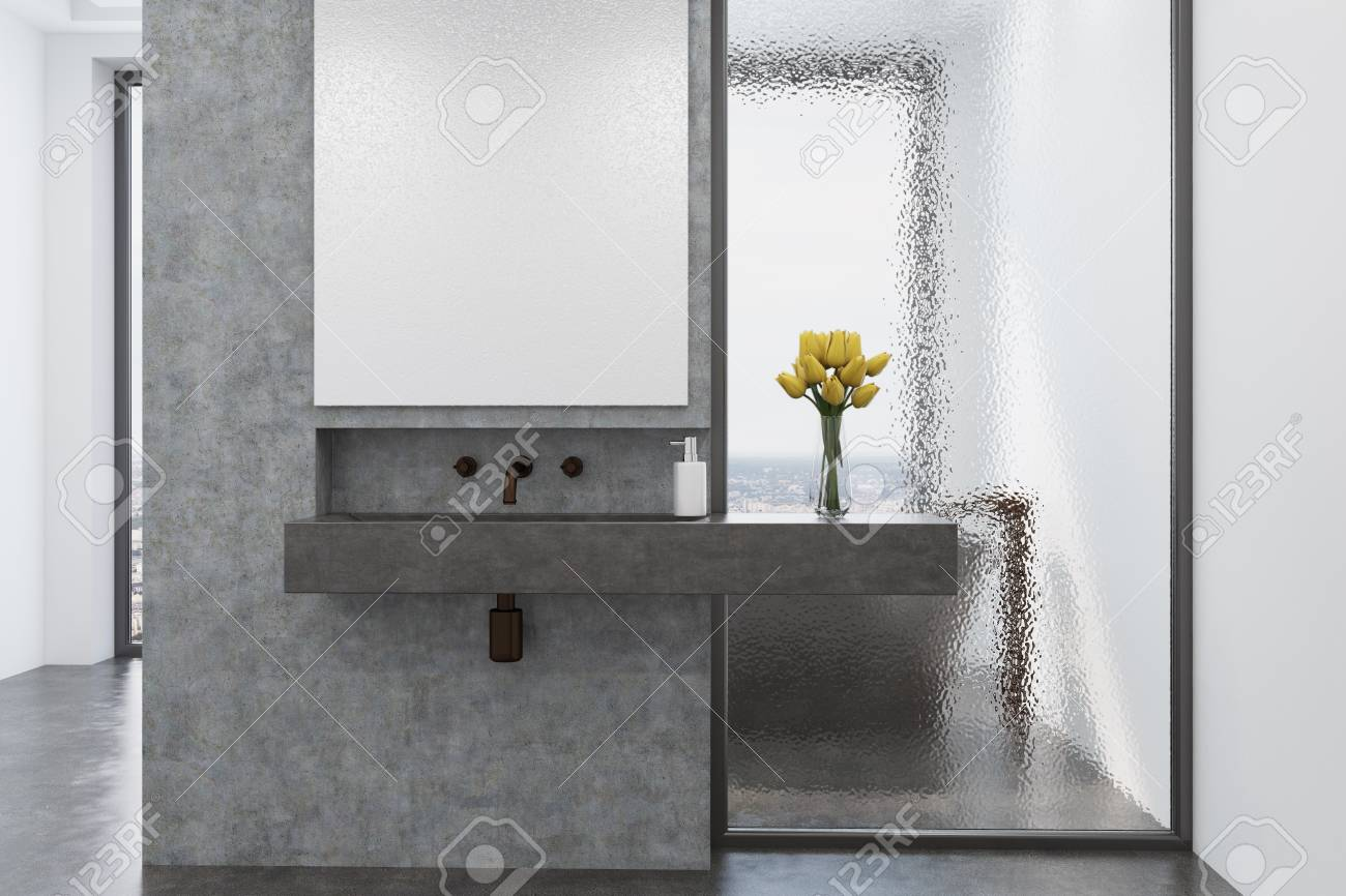 Concrete Panoramic Bathroom Interior With A Concrete Floor, White ...