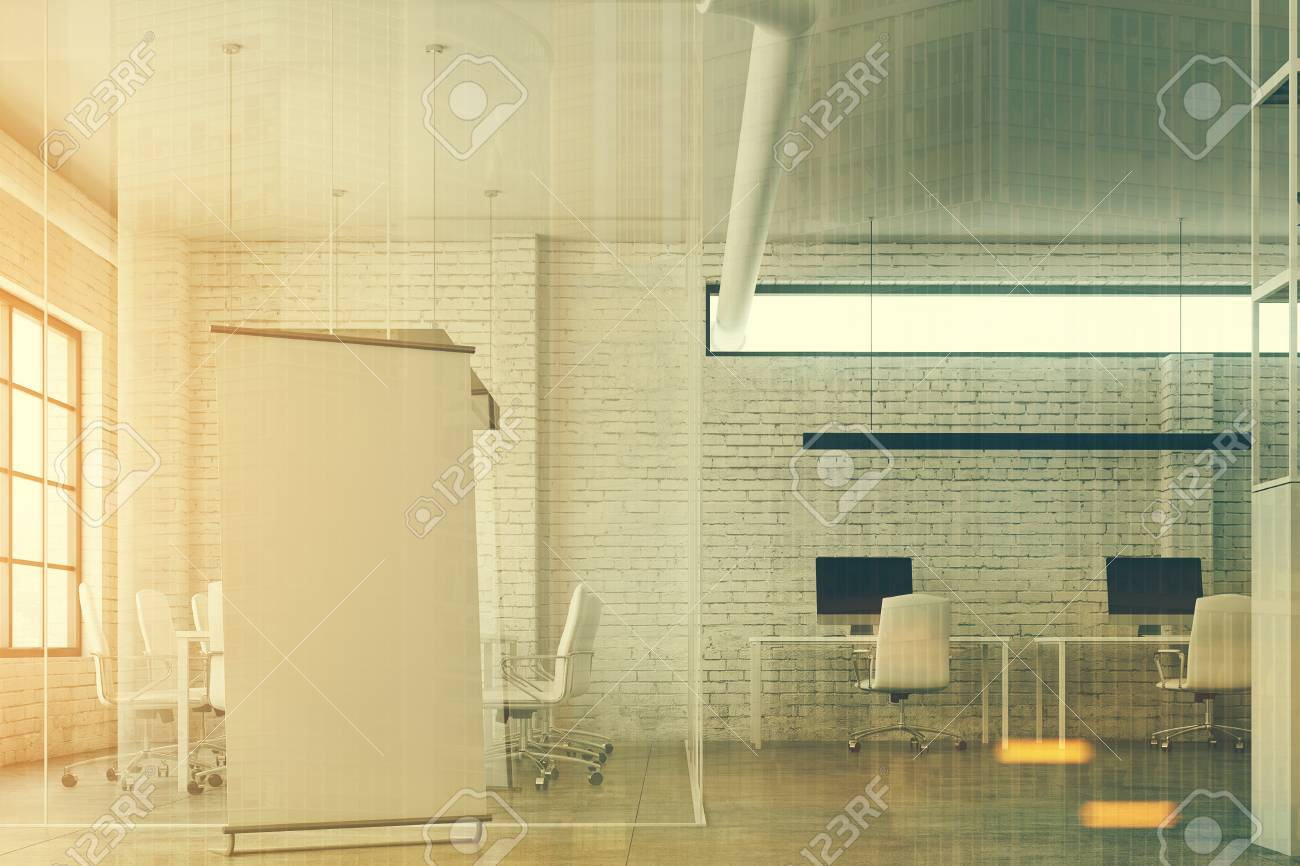 White Brick Open Space Office Interior With White Tables And.. Stock ...