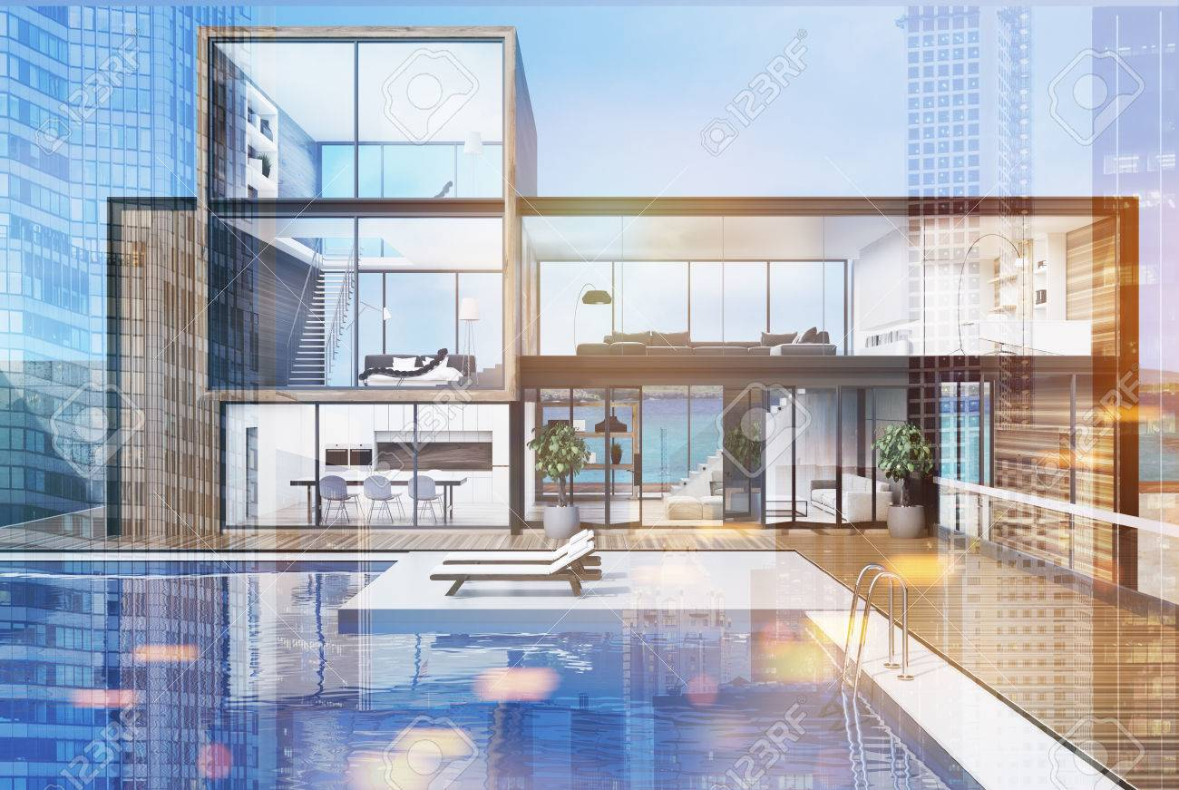 Wooden and glass wall mansion with a luxury swimming pool. There..