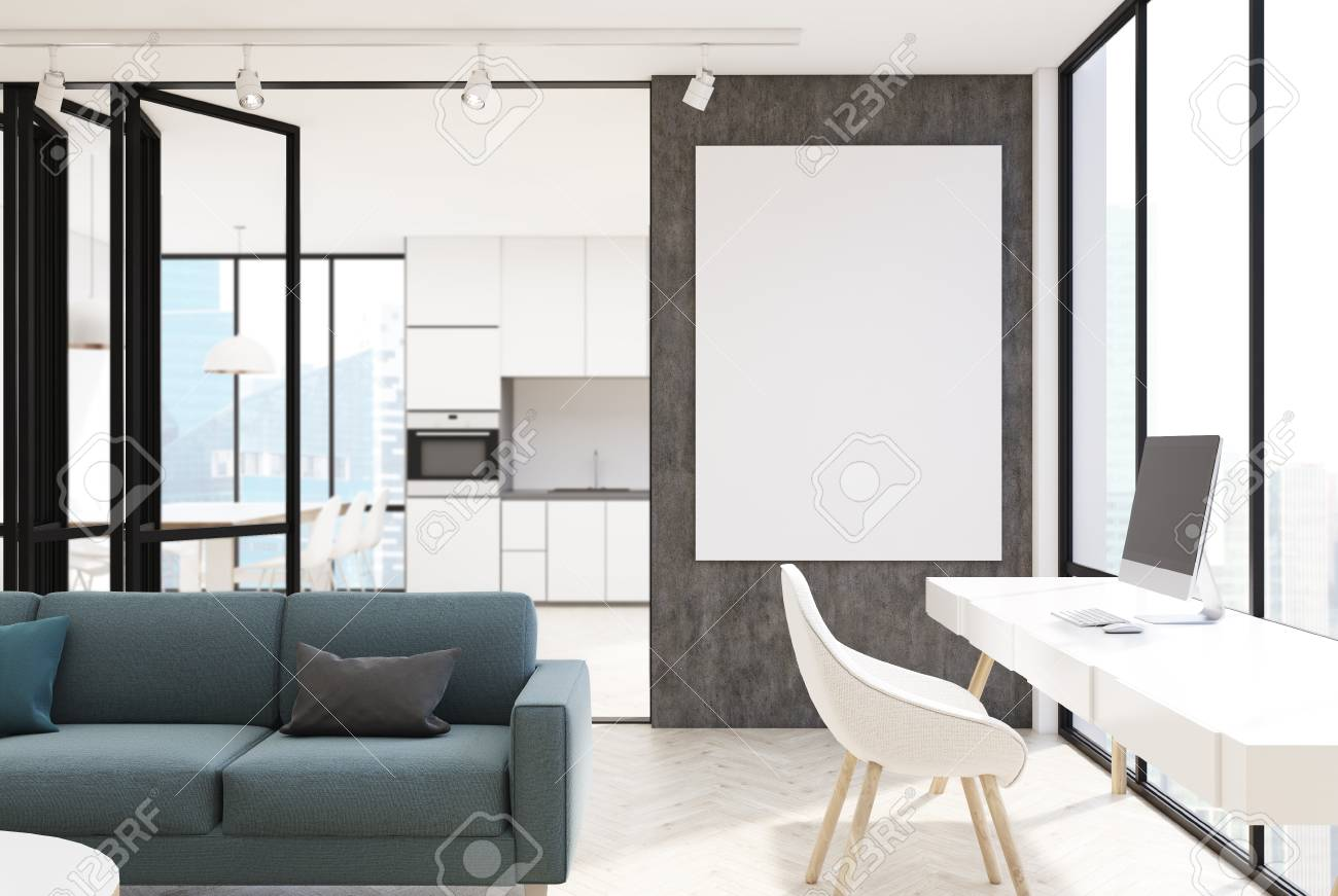 White Living Room Interior With A Panoramic Window, A Long Gray ...
