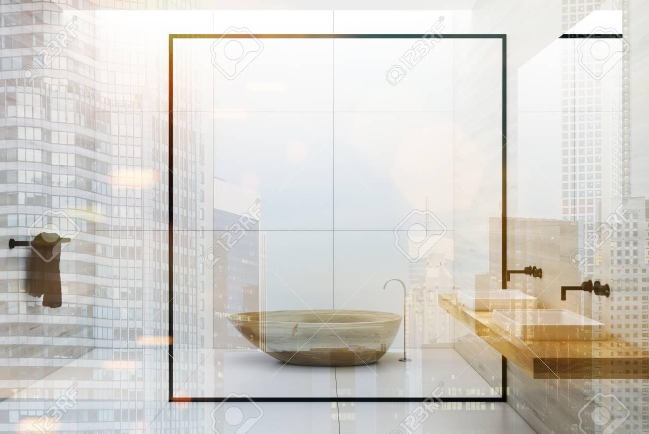 Weisse Fliesen Und Boden Badezimmer Interieur Mit Einem Doppel