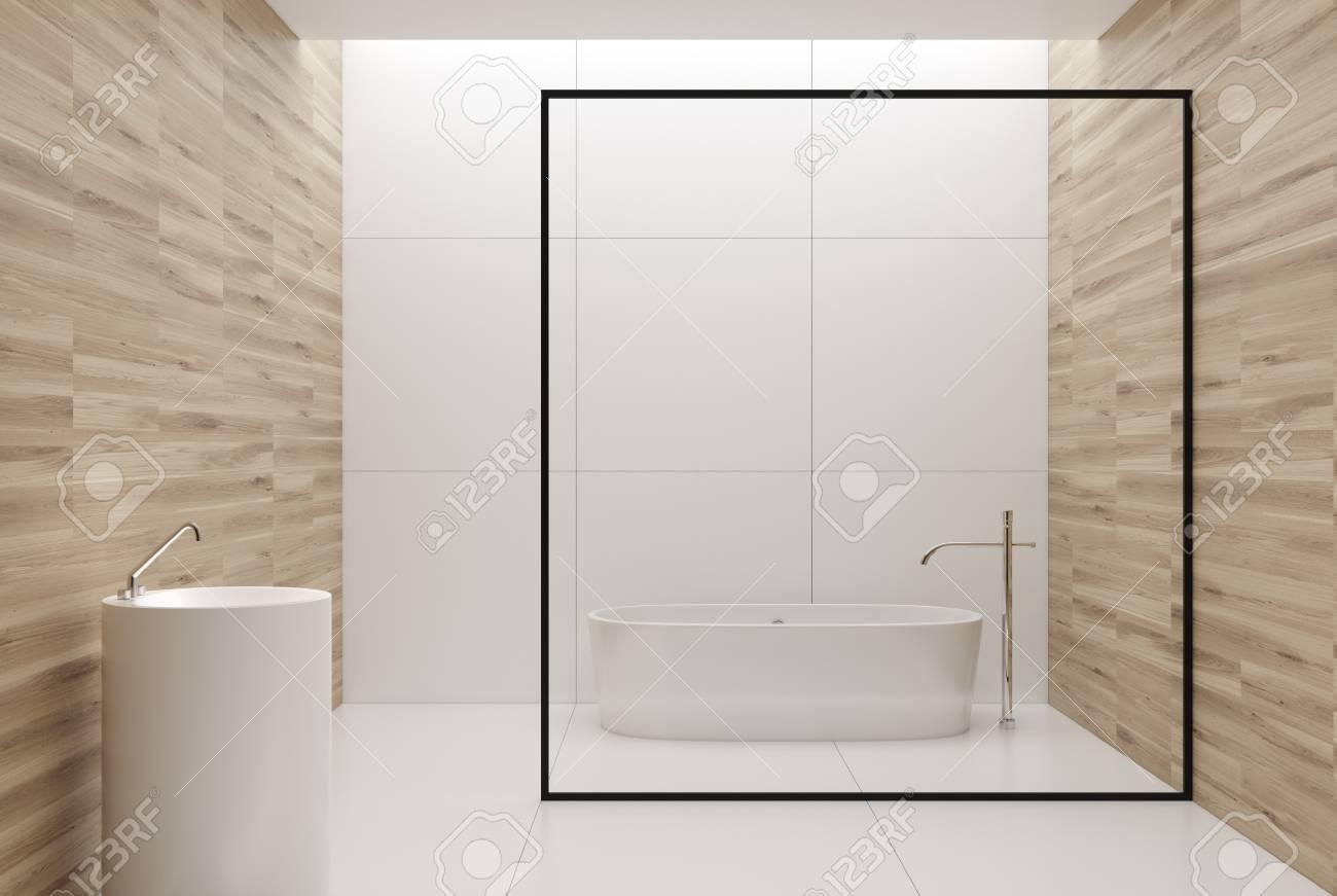 Intérieur de salle de bain blanc et en bois avec des murs carrelés en bois  et blanc, une baignoire blanche et un lavabo rond. Maquette 3D