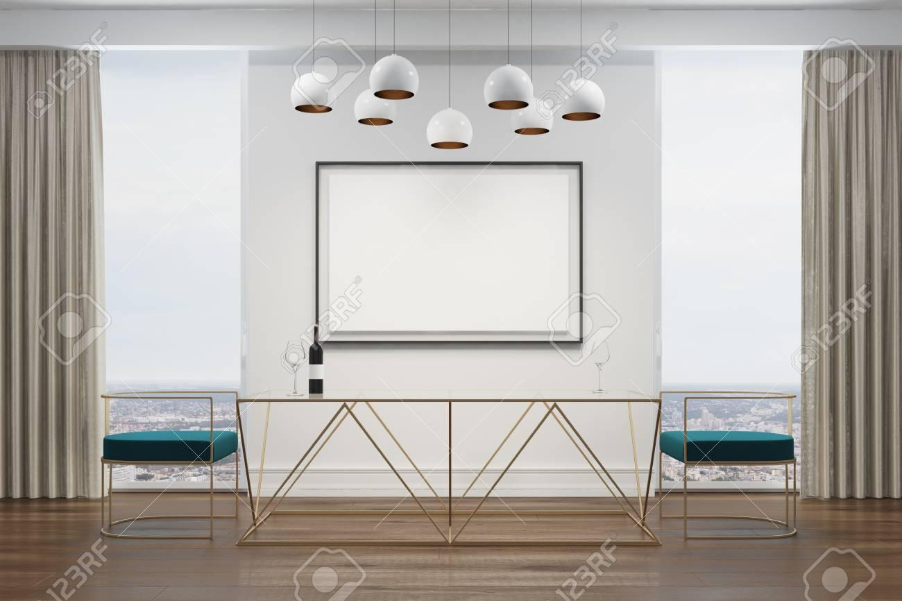 Interior Blanco Del Comedor Con Un Cartel, Una Ventana Panorámica ...